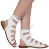 Adaline Lace Up Cut Out Sandals In White Faux Leather