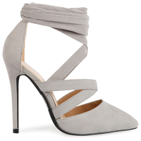 High Heels  - Adele Stiletto Lace Up Court Heels In Grey Faux Suede