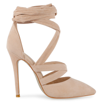 High Heels  - Adele Stiletto Lace Up Court Heels In Nude Faux Suede