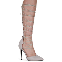 Sandals  - Adriana Nude Faux Suede Lace Up Knee High Heels