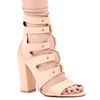 Alexa Mid Ankle Lace Up Heel In Nude Faux Leather With Block Heel