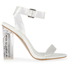 Ariana Perspex White Sandal With Glitter Heel