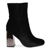 Ashley Velvet Ankle Boot With Statement Heel In Black