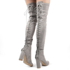 Belle Over The Knee Lace Up Back Boots In Light Grey Faux Suede