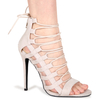 Britney Lace Up Heels In Nude Faux Suede