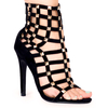 Cage Black Faux Suede Studded Heels