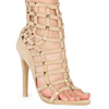 Cage Nude Faux Suede Studded Heels