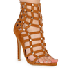 Cage Tan Faux Suede Studded Heels