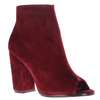 Callie Peep Toe Ankle Boots In Maroon Faux Suede