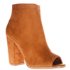 Callie Peep Toe Ankle Boots In Tan Faux Suede