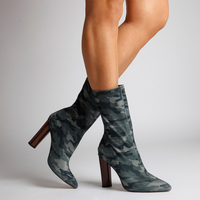Boots  - Cammile Khaki Camouflage High Ankle Boot