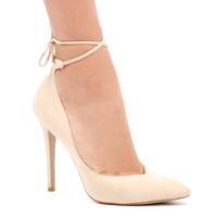 High Heels  - Candice Stiletto Lace Up Court Heel In Nude Faux Suede