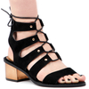 Ciara Gladiator Sandals With Statement Heel In Black Faux Suede