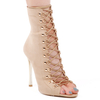Cici Lace Up Heel With Gold Details In Nude Faux Suede