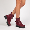Ellaria Burgundy Biker Boot In Faux Leather And Faux Suede