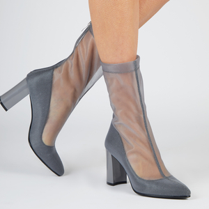 Shoes  - Fawn Mesh Ankle Boot In Grey