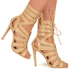 Gianna Nude Lace Up Heels