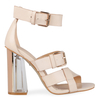 Imogen Perspex Heel in Nude Faux Leather