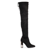 Isabella Over The Knee Black Faux Suede Boot With Silver Heel in Velvet