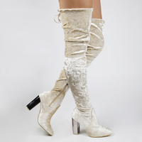 Boots  - Isabella Over The Knee Nude Velvet Boot With Silver Heel