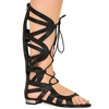Isla Black Faux Leather Gladiator Lace Up Sandals