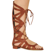High Heels  - Isla Tan Faux Leather Gladiator Lace Up Sandals