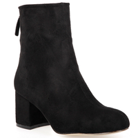 Boots  - Isla Zip Ankle Boot In Black Faux Suede