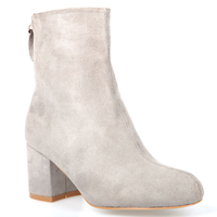 Boots  - Isla Zip Ankle Boot In Grey Faux Suede