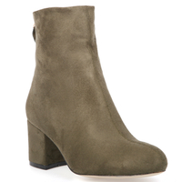 Boots  - Isla Zip Ankle Boot In Khaki Faux Suede