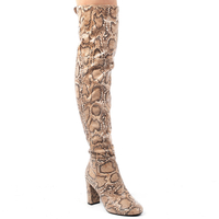 Boots  - Ivy Over The Knee Boots In Faux Leather Snake Print Size