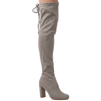 Boots  - Ivy Over The Knee Boots In Light Grey  Faux Suede