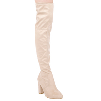 Boots  - Ivy Over The Knee Boots In Nude Faux Suede