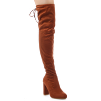 Boots  - Ivy Over The Knee Boots In Tan Faux Suede