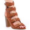 Kaci Buckle High Ankle Block Heel In Tan Faux Leather