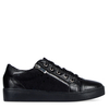 Kami Snake Print Lace Up Trainers In Metallic Black Faux Leather