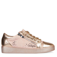 Shoes  - Kami Snake Print Lace Up Trainers In Rose Gold Faux Leather