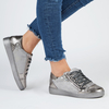 Kami Snake Print Lace Up Trainers In Silver Faux Leather