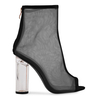 Kasey High Ankle Peep Toe Heeled Boots In Black Mesh With Perspex Heel