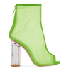 Kasey High Ankle Peep Toe Heeled Boots In Green Mesh With Perspex Heel