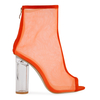Kasey High Ankle Peep Toe Heeled Boots In Orange Mesh With Perspex Heel