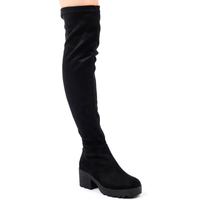 High Heels  - Kate Chunky Over Knee Boots In Black Faux Suede