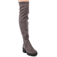 Boots  - Kate Chunky Over Knee Boots In Dark Grey Faux Suede