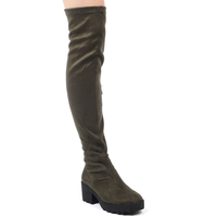 Shoes  - Kate Chunky Over Knee Boots In Khaki Faux Suede