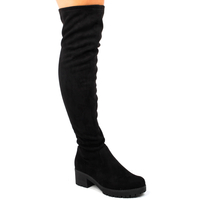 Low Shoes  - Kate Over The Knee Boots In Black Faux Suede