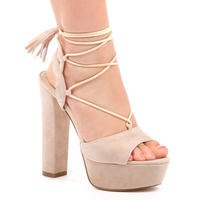High Heels  - Katie Lace Up Platform In Nude Faux Suede