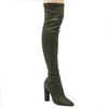 Lily Over The Knee Boots In Khaki Faux Suede