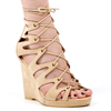 Macy Lace Up Open Toe Wedged Heel In Nude Faux Suede