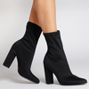 Maddie Pointed Ankle Boot In Black Lycra