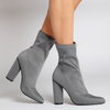 Maddie Pointed Ankle Boot In Grey Lycra