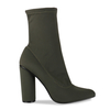 Maddie Pointed Ankle Boot In Khaki Lycra